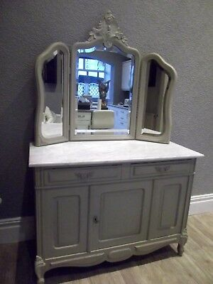 STUNNING LARGE ANTIQUE FRENCH DRESSING TABLE / WASHSTAND with MIRROR