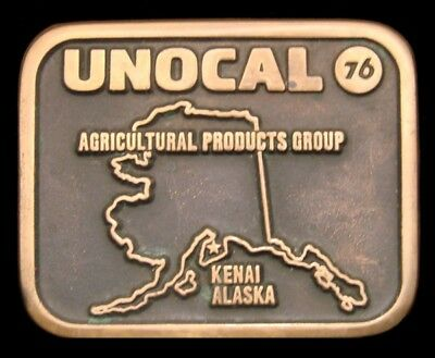 Lg24108 Vintage 1991 *unocal 76* Alaska Agriculture Products Solid Brass Buckle