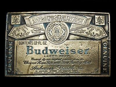 NA17125 VINTAGE 1970s **GENUINE BUDWEISER LAGER BEER** BELT BUCKLE