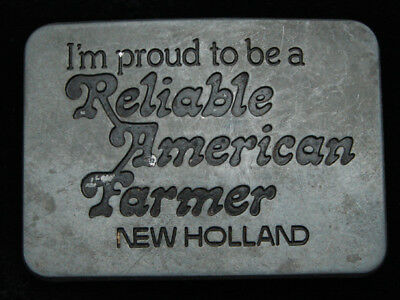 Pg07155 Vintage 1982 **I'm Proud To Be A Reliable American Farmer** Belt Buckle