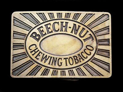 II03156 VINTAGE 1970s ***BEECH-NUT CHEWING TOBACCO*** BRASS PLATED BUCKLE
