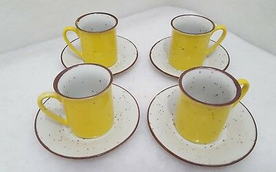 Set of 4 Counterpoint San Fransisco Vintage Yellow Expresso Mugs with Saucers