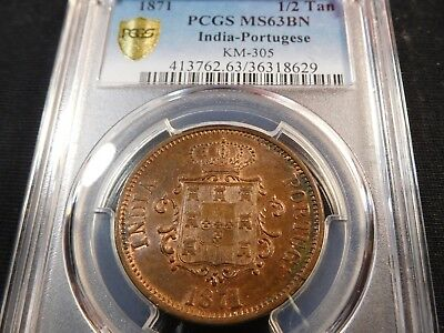 F9 India Portuguese 1871 1/2 Tanga KM-305 PCGS MS-63 Brown Pop-2 Tied for Finest