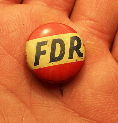 """ Fdr "" Franklin Delano Roosevelt Campaign Pin Back Button Badge 32Nd President"