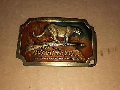 Vintage 1976 Indiana Metal Craft Winchester Cougar/Rifle Brass Belt Buckle Xr82