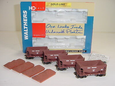Walthers Gold Line HO Scale Great Northern Ore Cars 4-pack #932-4402 with Loads