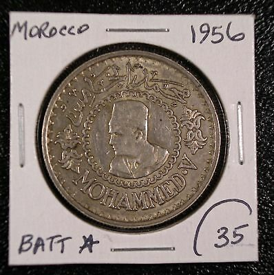 1956 Morocco 500 Francs SILVER COIN Y-54 One year type Mohammed V