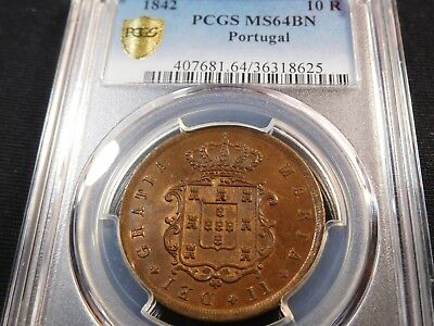 F35 Portugal 1842 10 Reis PCGS MS-64 Brown Pop-1 Finest Known