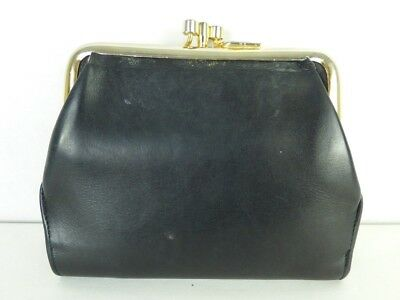 S.Giaconi Vintage Black Yellow Leather Coin Wallet VTG Made in Italy *Condition*