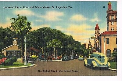 LINEN Postcard   CATHEDRAL PLACE, PLAZA, AND PUBLIC MARKET  -  ST. AUGUSTINE, FL