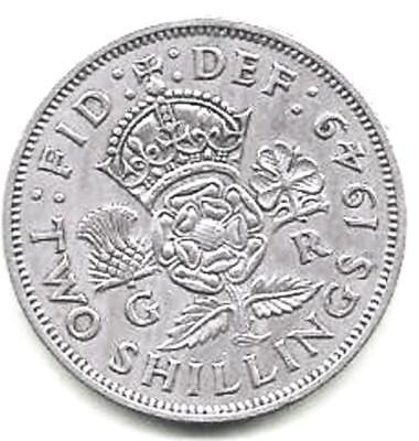 1949 Great Britain British Two 2 Shillings Crowned Rose Coin King George V   A-2