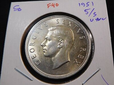 F40 South Africa 1951 5 Shilling Crown UNC