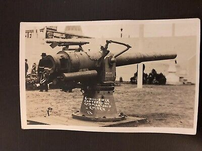"RPPC REAL PHOTO POSTCARD 6 Inch Rifle Captured On German Ship ""Endemic"" WW1"