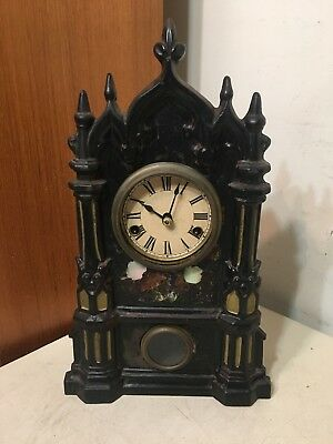 Antique Gothic Castle Steeple Iron Front Mantle Clock Johnson New York