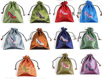 Wholesale 10pcs Chinese Handmade Embroidered Flower Silk Clothes Pouch Shoes Bag