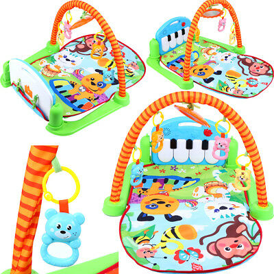 3 In 1 Baby Lullaby Kids Playmat Musical Piano Activity Soft Fitness Gym Mat