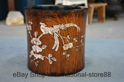 """8.4"""" Old Chinese Huanghuali Wood Shell Palace Flower Bird Pencil vase brush Pot"""