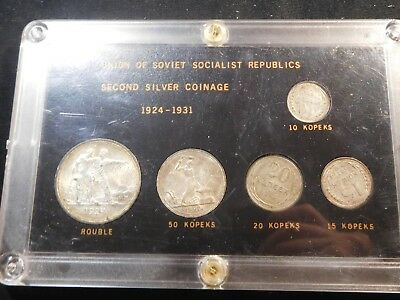 F111 Russia USSR 1924-1931 First Silver Coinage Set