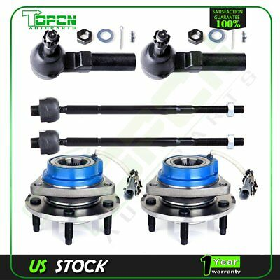 2 Front Wheel Hub and Bearing Assembly ABS AWD FWD 2 Outer and 2 Inner Tie Rod