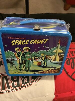 Brand New vintage 1954 metal Tom Corbett Space Cadet lunchbox with thermos