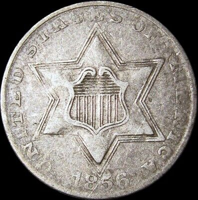 1856 Silver Three Cent Piece 3cp Type Coin ---- NICE ---- #P472