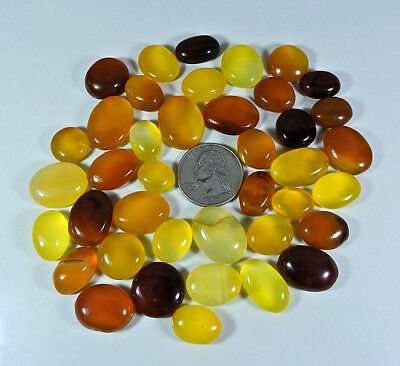 C23629O Natural Yellow Onyx Cabochon Gemstone Lot 40Pcs. Oval 501Cts.