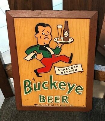 Vintage 1940's Buckeye Beer - Brewing Co Composition Sign Toledo Oh Ohio