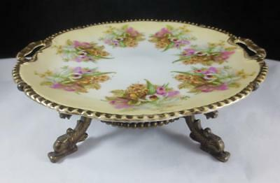 """Vtg/ Antique 10"""" CAKE PLATE with ORCHIDS Mounted on DOLPHIN FOOTED BRONZE STAND"""