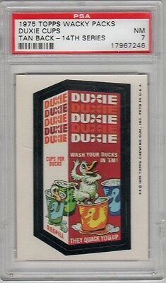 1975 Topps Wacky Packages 14th Series 14 Duxie Cups Tan PSA 7 NM