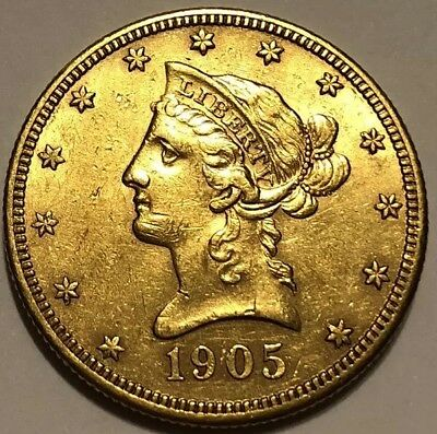 1905-S Liberty $10 Gold Eagle, San Francisco Mint Issue, Gold Bullion Coin, AU