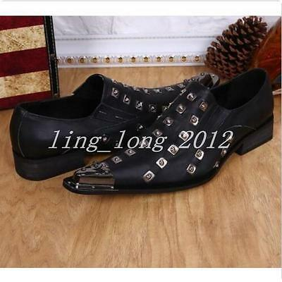 Hot Sale Mens Shoes Punk Studded Metal Pointed Toe Formal Dress Leather SZ