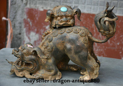 "12"" Old Chinese Purple Bronze Gilt Fengshui Foo Fu Dog Guardion Lion Pair Statue"