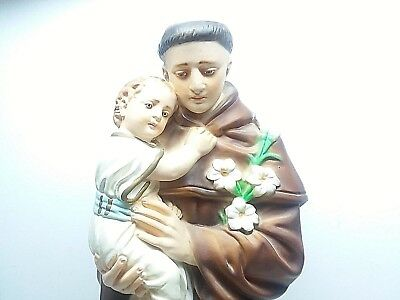 "🙏 Vintage St Anthony & Baby Jesus 17"" Chalkware Statue"