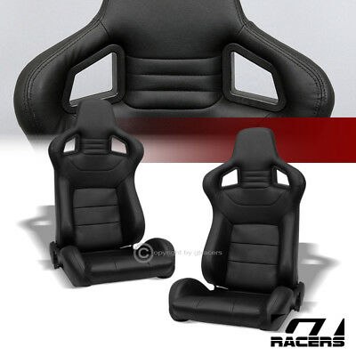 2X Universal Mu Blk Stitch Pvc Leather Reclinable Racing Bucket Seats+Slider G01