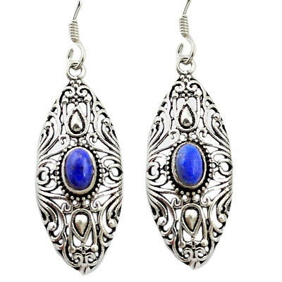 Natural Blue Lapis Lazuli 925 Sterling Silver Dangle Earrings M51388