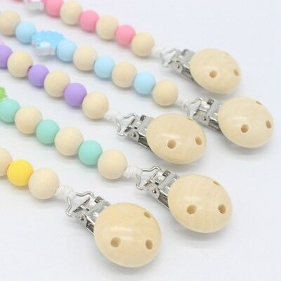 1X Universal Baby Pacifier Clips with Silicone Teething Beads for Kids Gifts