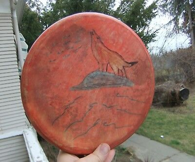 "New Native American Indian Rawhide Ceremonial Dance Drum w/ Howling Wolf 10"" Dia"