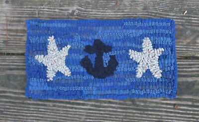 ANCHOR & STARFISH Primitive Rug Hooking Kit with cut wool strips on monks cloth