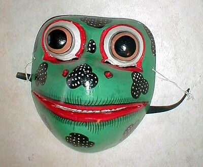 "Frog Mask Bali  Great for your Wall or your Face about 8"" Handmade wood carving"