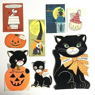 1960s Vintage Halloween Card Lot Flocked Black Cats Snoopy Witch Pumpkin