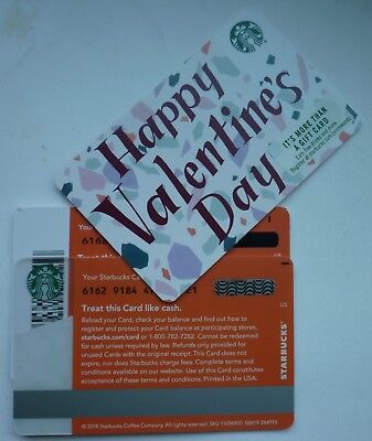 2 - STARBUCKS CARDS 2019 VALENTINE'S DAY 2018 #6162 w/ LINE (1) & DASH (1) MARK