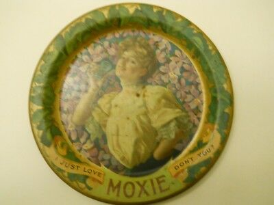 Antique 1910 Moxie Soda Tin Lithograph Advertising Tip Tray, Good Cond.