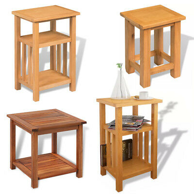 Modern Home Furniture Chairside Small End Table With Shelf Solid Oak Side Table