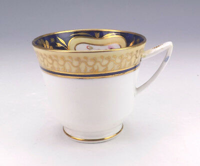 Antique English Porcelain - Hand Painted Flowers Gilded Cobalt Blue Cup