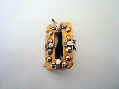 Small Antique Victorian Brass and Cut Steel Slide Buckle 1/2 x 7/8 In.