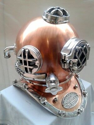 "Copper Antique Diving Helmet U.S Navy Mark V Deep Sca 18 "" Divers Helmet Replica"