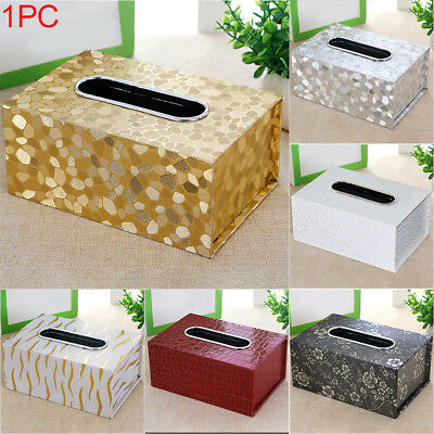 Tissue Box Holder Cover PU Leather Napkin Case Table Car Room Office Home