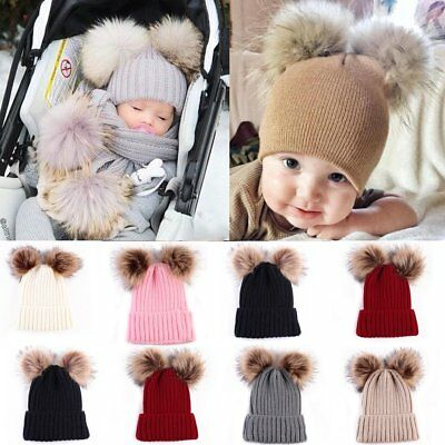 UK Newborn Baby Boys Girls Winter Warm Double Fur Pom Bobble Knit Beanie Hat Cap