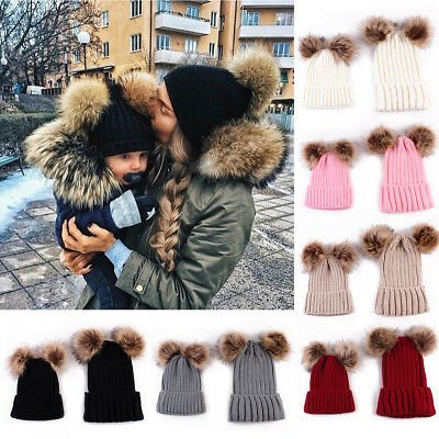 Mom&Newborn Baby Boy Girls Winter Warm Double Fur Pom Bobble Knit Beanie Hat Cap