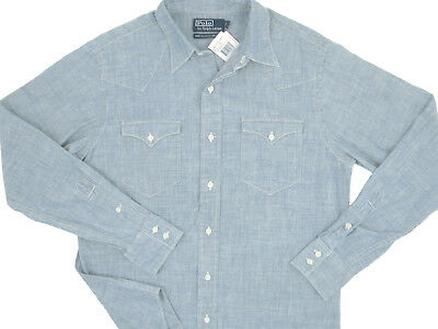 NEW Vintage 90's Polo Ralph Lauren Western Style Chambray Shirt! M Unique & Rare